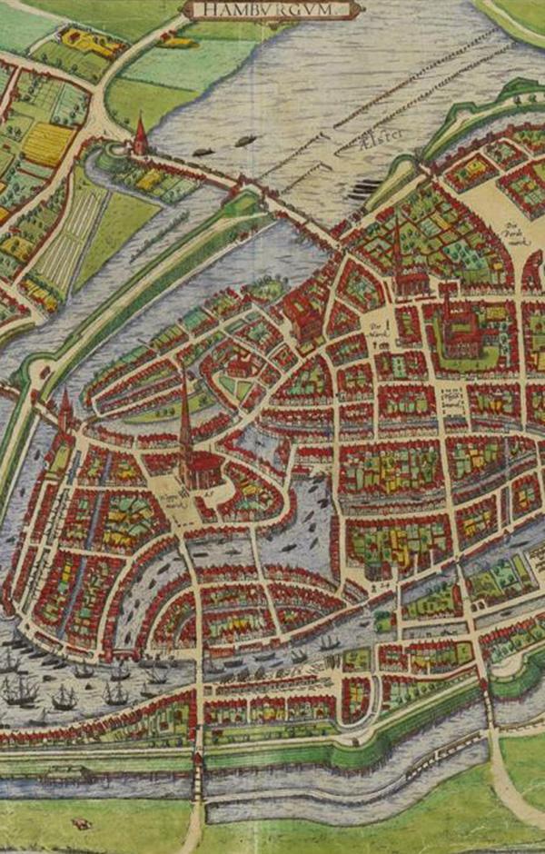 Karte Hamburg im 16. Jahrhundert