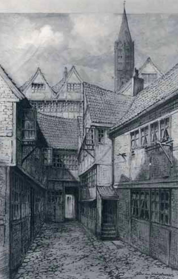 Hinter der Steinstraße. Kreidezeichnung von Friedrich Duyffcke, um 1890.