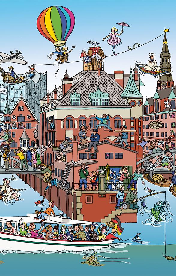 Ein buntes Wimmelbild der Speicherstadt